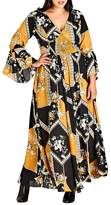 City Chic Scarf Print Maxi Dress