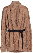 Brunello Cucinelli Pailette-Trimmed Chunky Belted Cardigan