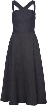 Martin Grant Criss-Cross Flared Linen Midi Dress