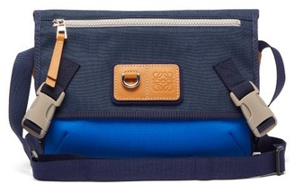 eye/LOEWE/nature Anagram Leather And Canvas Messenger Bag - Blue