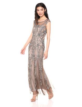 Pisarro Nights Women's Long Beaded Dress with Illusion Neck and Heart Motif Grey 2