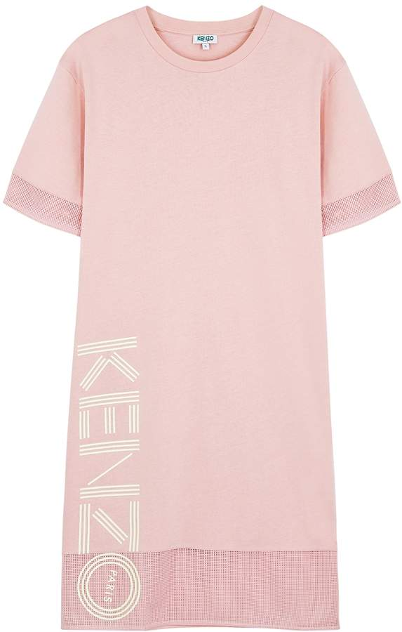 Kenzo Pink Logo Cotton T-shirt Dress