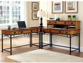 Home Styles Modern Craftsman 2-Piece Distressed Oak and Deep Brown Office Suite