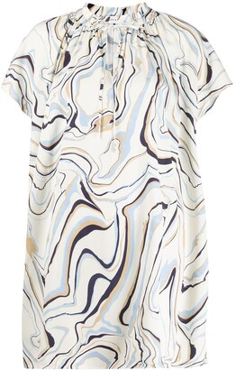 Chinti and Parker Graphic-Print Flared Dress