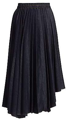 Brunello Cucinelli Women's Asymmetric Pleated Denim Skirt