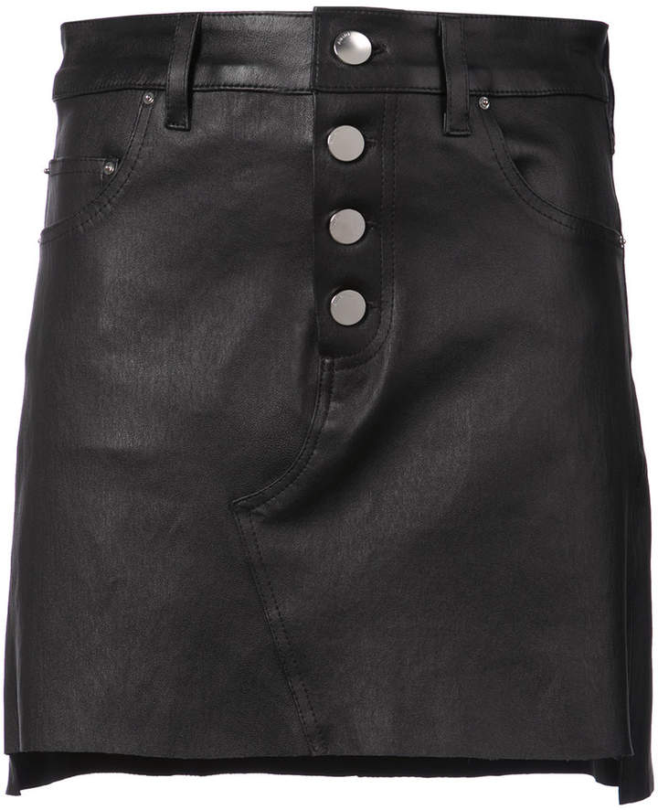 Amiri button-down leather skirt