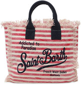 MC2 Saint Barth Logo Printed Cotton Canvas Bag