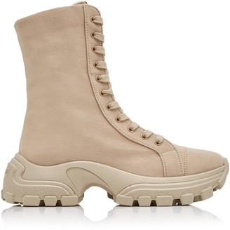 Miu Miu Washed Denim Combat Boots