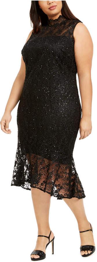 Calvin Klein Plus Size Mock-Neck Lace Dress