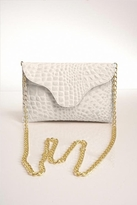 JJ Winters Chain Leather Croco Miley Clutch in Bone