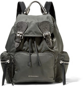 Burberry Medium Leather-trimmed Gabardine Backpack - Dark gray