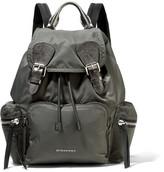 Burberry Medium Leather-trimmed Gabardine Backpack