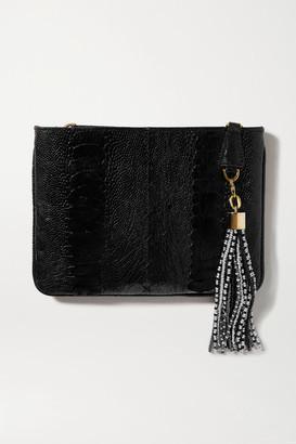 Okapi - Embellished Ostrich Clutch - Black