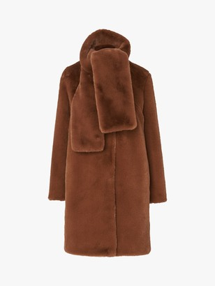 LK Bennett Aspen Faux Fur Coat, Light Brown