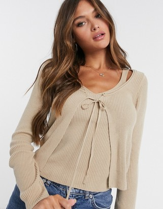 ASOS DESIGN co-ord cardigan with tie front in cream