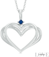 Zales The Kindred Heart of the Vera Wang LOVE Collection Blue Sapphire Pendant in Sterling Silver