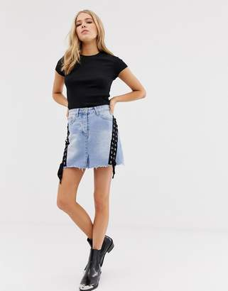 Glamorous denim skirt with lace up detail-Blue