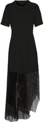 Belstaff Garnet Plisse Organza-paneled Crepe Midi Dress