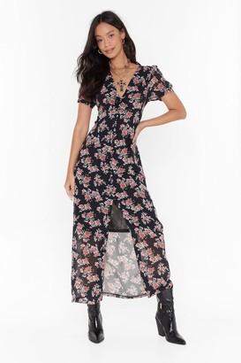 Nasty Gal Womens Anything Rose Tonight Floral Maxi Dress - black - 4