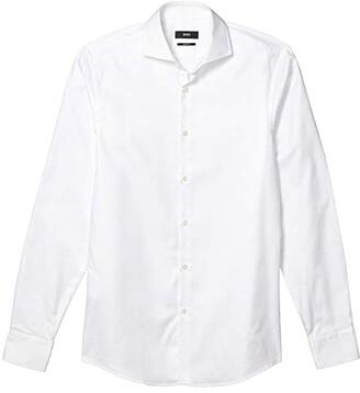 HUGO BOSS Mark Slim Fit Cotton Dress Shirt By BOSS (White) Men's Clothing