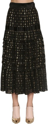 Temperley London Gold Embroidered Silk Chiffon Midi Skirt