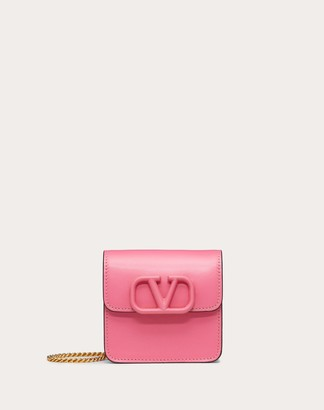Valentino Compact Vsling Glossy Calfskin Wallet With Chain Strap Women Pink 100% Pelle Di Vitello - Bos Taurus OneSize