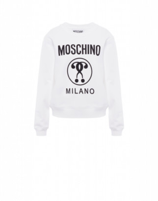 Moschino Double Question Mark Cotton Sweatshirt Woman White Size 36 It - (2 Us)