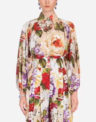 Dolce & Gabbana Oversize Floral-Print Crepe De Chine Shirt