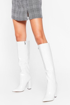 Nasty Gal Womens We Knee Business Faux Leather Croc Boots - White