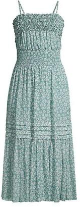 Rebecca Taylor Floral Stretch-Silk Midi Dress