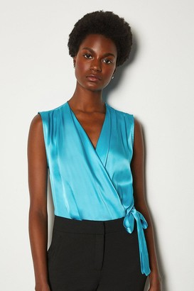 Karen Millen Silk Satin Sleeveless Draped Blouse
