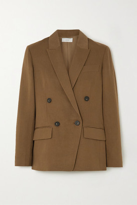 Vince Double-breasted Linen-blend Twill Blazer - Army green