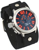 Nemesis #LHST088KN Men's Russian Lefty Chronograph Wide Leather Cuff Band Watch