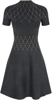 Sandro Studded A-Line Knit Dress