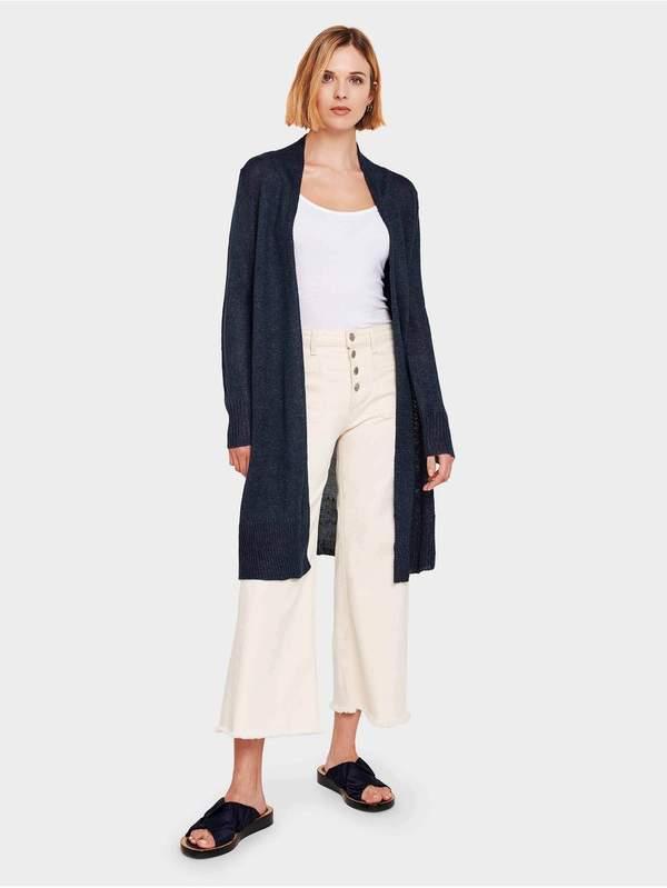 White + Warren Corded Linen Long Open Cardigan