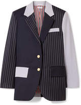 Thom Browne Patchwork Striped Wool-blend Seersucker And Twill Blazer - Midnight blue