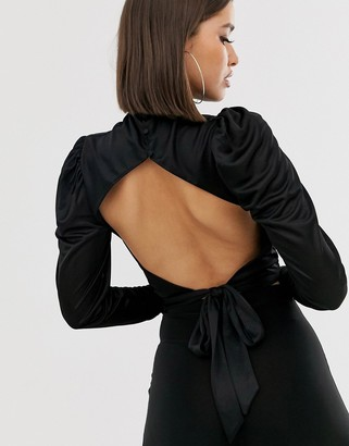 ASOS DESIGN cowl neck long sleeve backless top in black