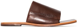 ST. AGNI Leather Slip-On Flat Sandals
