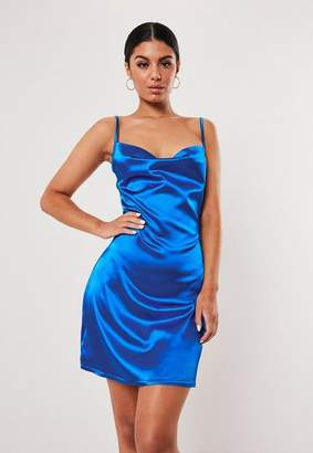 Missguided Blue Satin Strappy Cowl Neck Shift Dress