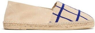 Guanabana - Check Patterned Woven And Suede Espadrilles - Mens - Cream Multi