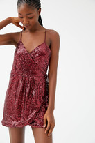 Motel Fabia Sequin Wrap Mini Dress