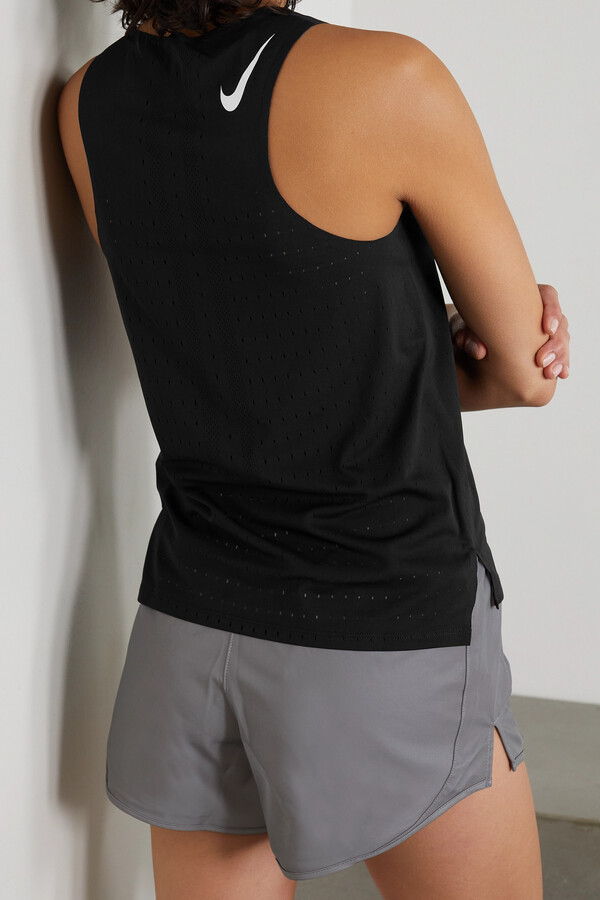 Thumbnail for your product : Nike Aeroswift Perforated Stretch-jersey Tank - Black