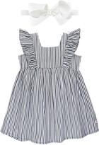 RuffleButts Navy Stripe Flutter Sleeve Dress & Bow Head Wrap Set
