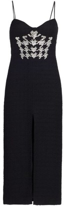 David Koma Crystal Houndstooth Stretch-Wool Midi Dress