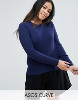 Asos Sweater in Rib with Lace Up Shoulders