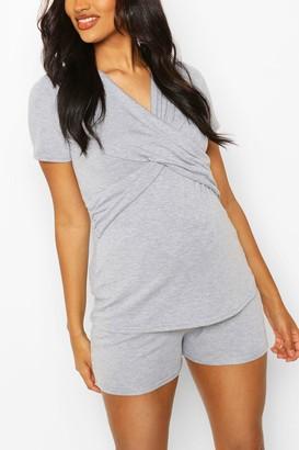 boohoo Maternity Wrap Front Nursing PJ Short Set