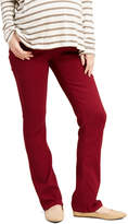 Burgundy Over-Belly Five-Pocket Maternity Bootcut Jeans - Plus