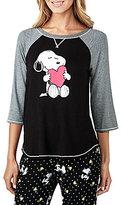Peanuts Snoopy & Heart Raglan Jersey Sleep Top