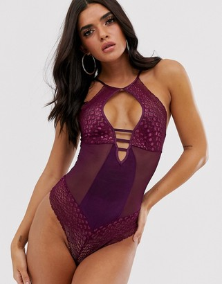 Hunkemoller Nyx snake mesh body in purple