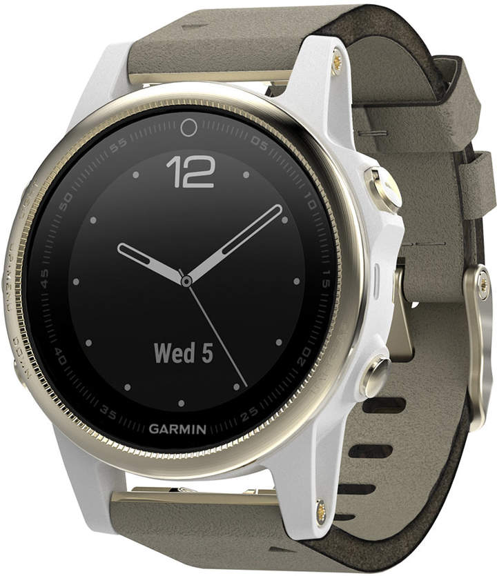 Garmin Unisex fenix 5S Gray Suede Strap Smart Watch 42mm
